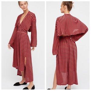 Free People Yacht Club Midi Dress Linen Blend XS